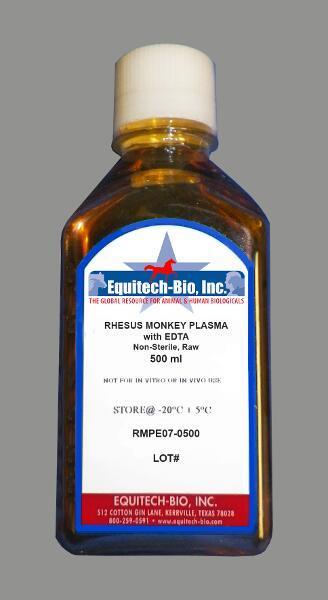 RMPE07 -- Non-Sterile Rhesus Monkey Plasma with EDTA