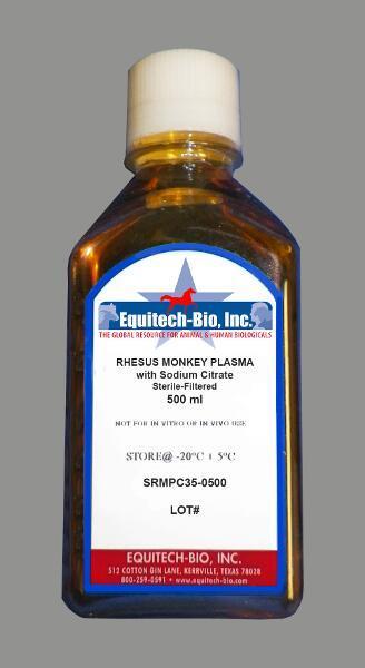 SRMPC35 -- Sterile Filtered Rhesus Monkey Plasma with Sodium Citrate
